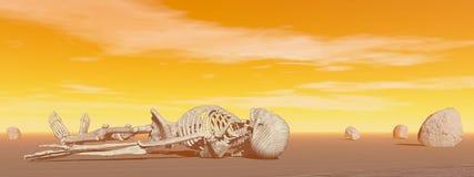 Squelette dans le désert - 3D rendent Image stock