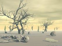 Squelette dans le désert - 3D rendent Photographie stock