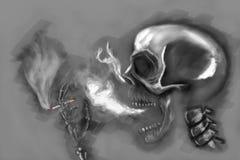 Squelette de fumage image stock