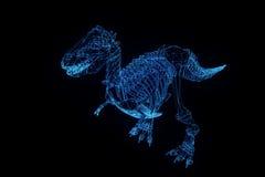 Squelette de TRex de dinosaure dans le style de Wireframe d'hologramme Rendu 3D gentil illustration de vecteur