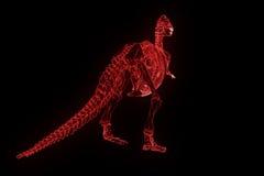 Squelette de TRex de dinosaure dans le style de Wireframe d'hologramme Rendu 3D gentil Photo libre de droits