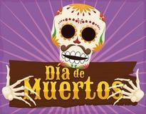 Squelette drôle tenant une salutation pour et un x22 en bois ; Dia de Muertos et x22 ; , Illustration de vecteur Photographie stock libre de droits