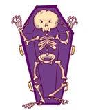 Squelette effrayant dans le cercueil dans le style de bande dessinée Caractère de Halloween photos libres de droits