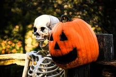 Squelette et Pumpkinhead 2 Photographie stock libre de droits