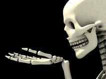 Squelette observant quelque chose sur sa main Photos stock