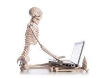 Squelette travaillant sur l'ordinateur portable Photos stock