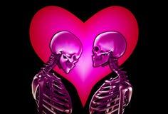 Squelettes avec le coeur d'amour Photos libres de droits