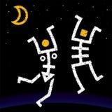 Squelettes de danseurs de lune de l'homme et de femme illustration stock