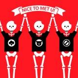 Squelettes humains drôles d'illustration de bande dessinée dans t Images libres de droits