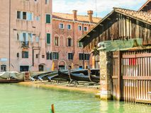 Squero di San Trovaso - gondolas workshop. Venice, Italy stock photography