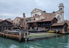 Squero di San Trovaso in Venice Italy. Historic gondola boatyard in Venice. royalty free stock photo