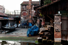 Squero San Trovaso in Venedig, historisches Wahrzeichen des Gebäudes und stockbild