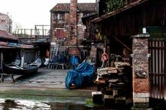 Squero San Trovaso in Venetië, historisch oriëntatiepunt van de bouw en stock afbeelding