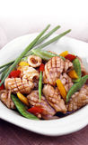 Squid. Close-up of a dish with Asian-style fried squid and vegetables Royalty Free Stock Image