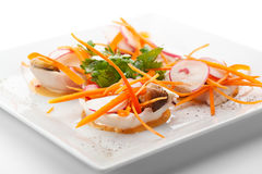 Squid. Appetizers - Sliced Squid with Mushrooms and Fresh Vegetables Stock Photos