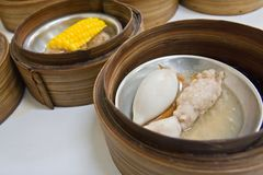 Squid Dimsum in bamboo container closed up Stock Photography