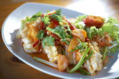 Squid and egg fried salad. In thaifood Royalty Free Stock Photos