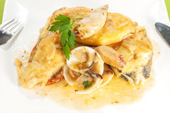 Fish with seafood sauce Royalty Free Stock Image