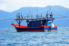 Squid Fishing Boat Stock Photography