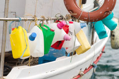 Squid fishing boat Stock Photos