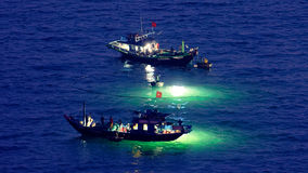 Squid fishing boats Stock Photography