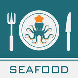 Squid Fork Knife Dish icon. Restaurant sign Royalty Free Stock Photo
