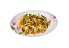 Squid fried with Salted Eggs on white background Royalty Free Stock Photography