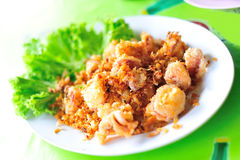 Squid fried in soft light sea food Royalty Free Stock Image