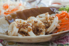 Squid with Garlic Pepper. Fried squid with garlic pepper Royalty Free Stock Images