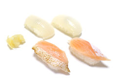 Squid and grilled salmon nigiri sushi in the white. Background Stock Photography