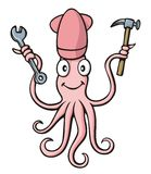 Squid handyman cartoon Royalty Free Stock Image