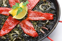 Squid ink paella Royalty Free Stock Photo