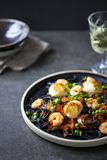 Squid ink pasta with prawns and scallops. In rich tomato sauce on black plate stock images