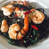 Squid ink spaghetti Stock Photography