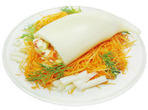 Squid meal with carrot salad Stock Photos