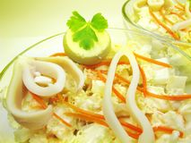 Squid meal with carrot salad Stock Image