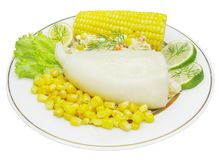 Squid meal with corn Stock Photography