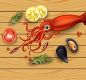 Squid and mussels seafood on wood background. Vector realistic detailed illustrations. Squid and mussels seafood on wood background. Vector realistic detailed Royalty Free Stock Photos