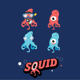 Squid and octopus character with letter -  Royalty Free Stock Images