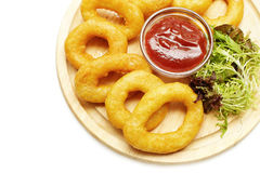 Squid rings, beer snacks Stock Images