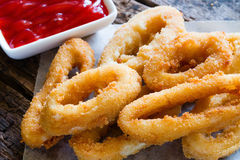 Squid rings breaded Royalty Free Stock Photo