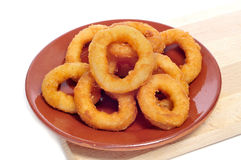 Squid rings breaded and fried Royalty Free Stock Photos