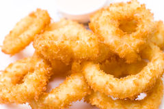 Squid rings, fried in batter, macro Royalty Free Stock Photography