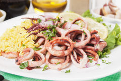 Squid rings with rice Stock Photography