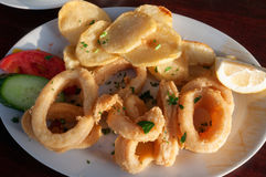 Squid rings with vegetables Royalty Free Stock Photography