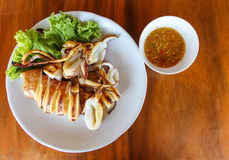 Squid roast,Thai dinner Stock Images