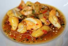 Squid roast with Seafood sauce. Roasted squid with sauce on dish Royalty Free Stock Photo