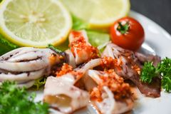 Squid salad with chilli sauce spicy herbs and spices Grilled squid slice on plate in the seafood restaurant stock photo