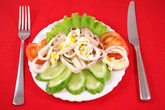 Squid salad with egg Royalty Free Stock Photography