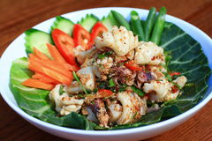 Squid salad. Spicy squid salad is Thai salad food Royalty Free Stock Photos